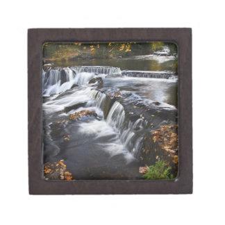 USA, Michigan, Upper Peninsula. Bond Falls and Premium Gift Box
