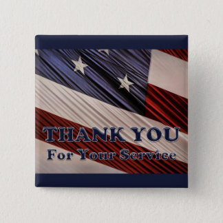 USA Military Veterans Patriotic Flag Thank You 2 Inch Square Button