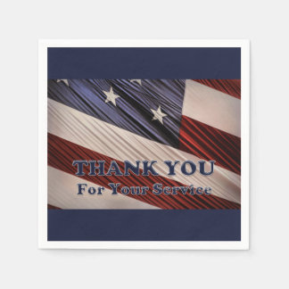 USA Military Veterans Patriotic Flag Thank You Paper Napkin
