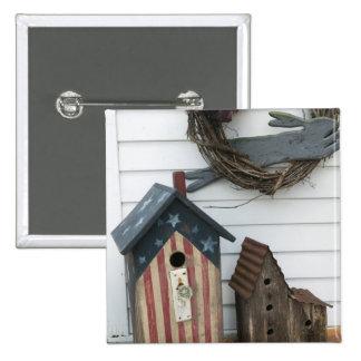 USA, Missouri, Herman: Patriotic Birdhouses, 2 Inch Square Button