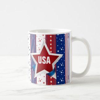 USA Monogram Americana Patriotic Classic White Coffee Mug