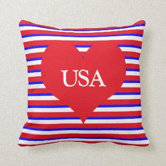 USA Monogram Heart on Red White & Blue Stripes Throw Pillow