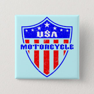 USA Motorcycle 2 Inch Square Button