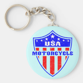 USA Motorcycle Basic Round Button Keychain
