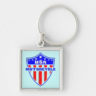 USA Motorcycle Silver-Colored Square Keychain