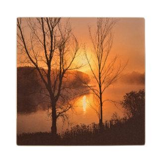 USA, New England, Maine. Autumn Sunrise Wood Coaster