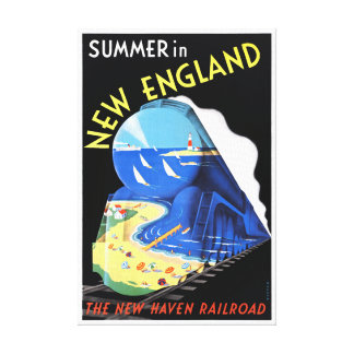 USA New England Vintage Travel Poster Restored Canvas Print