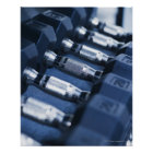 USA, New Jersey, Jersey City, Row of dumbbells Poster