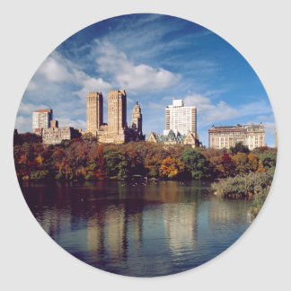 USA, New York City, Central Park, Lake Round Sticker