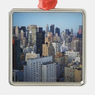USA, New York City, Manhattan skyline Silver-Colored Square Ornament