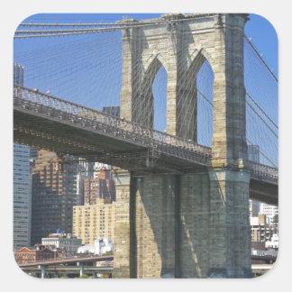 USA, New York, New York City. Brooklyn Bridge Square Sticker