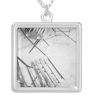 USA, NEW YORK: New York City Cafe Chairs, Square Pendant Necklace
