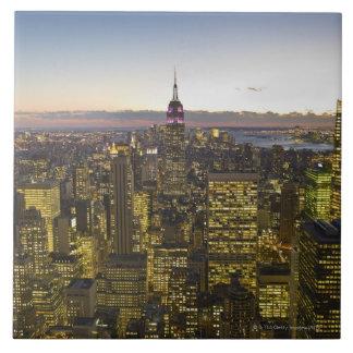 USA, New York, New York City, Cityscape at dusk 2 Ceramic Tiles