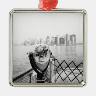 USA, NEW YORK: New York City Scenic Viewer Silver-Colored Square Ornament