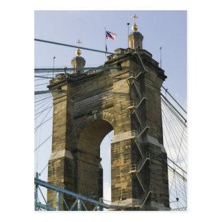 USA, Ohio, Cincinnati: Roebling Suspension Postcard