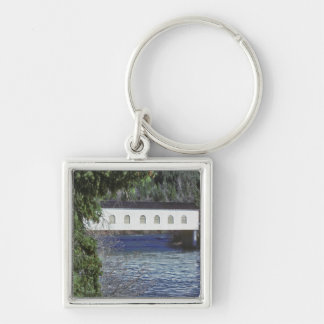 USA, Oregon. A pick-up crossing the Silver-Colored Square Keychain