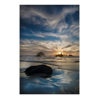 USA, Oregon, Bandon Beach. Face Rock Poster
