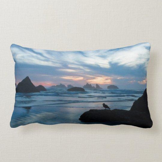 USA, Oregon, Bandon Beach. Seagull on rock Lumbar Pillow