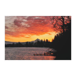 USA, Oregon. Blue Lake And Mt Hood At Sunrise Canvas Print