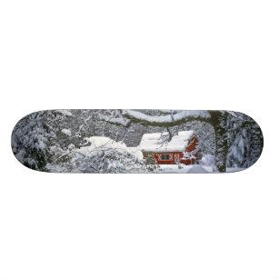 USA, Oregon, Clackamas County. Fresh snow Skateboard