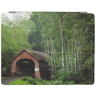 USA, Oregon. Covered Bridge Over North Fork iPad Cover