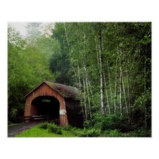 USA, Oregon. Covered Bridge Over North Fork Poster