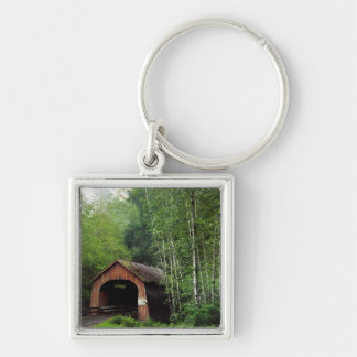 USA, Oregon. Covered Bridge Over North Fork Silver-Colored Square Keychain