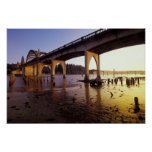 USA, Oregon, Florence. Siuslaw Bridge and Poster