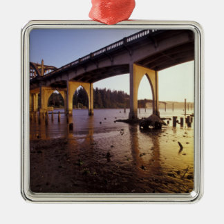 USA, Oregon, Florence. Siuslaw Bridge and Silver-Colored Square Ornament