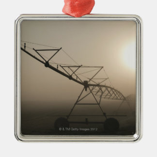 USA, Oregon, Marion County, Irrigation and fog Silver-Colored Square Ornament