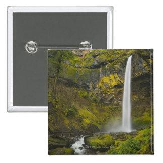 USA, Oregon, Multnomah County, Elowah Falls 2 Inch Square Button