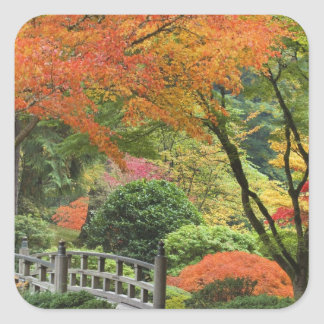 USA, Oregon, Portland. Wooden bridge and maple Square Sticker