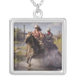 USA, Oregon, Seneca, Ponderosa Ranch. Cowboy 2 Silver Plated Necklace