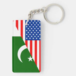 usa Pakistan country half flag america symbol Double-Sided Rectangular Acrylic Keychain