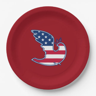 USA Patriotic 4th of July Party Paper Plates 9 Inch Paper Plate