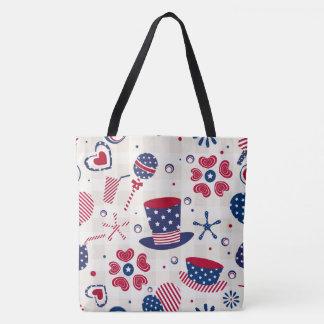 USA Patriotic Hats and Hearts Tote Bag
