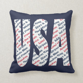 USA Patriotic Let Freedom Ring Stars and Stripes Throw Pillow