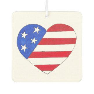 USA Patriotic Love Heart Red White Blue Flag Gift Air Freshener