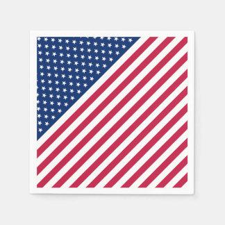 USA Patriotic Red Stripes Stars Flag Paper Napkin