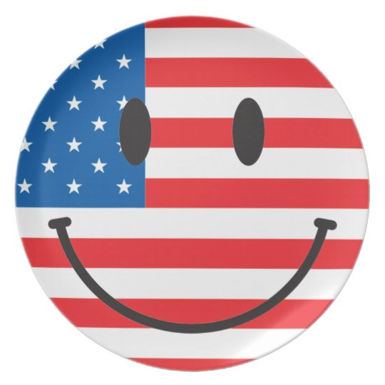 USA patriotic smiley face Plate