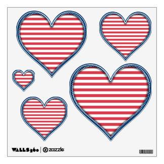 USA Patriotic Stars and Stripes - Heart Multi Wall Sticker
