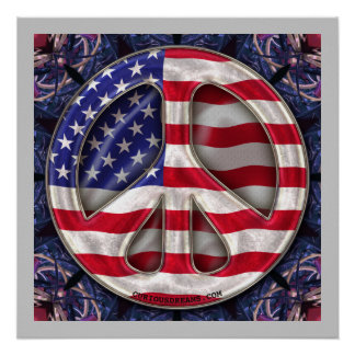 USA Peace Flag Art Poster