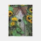 USA, Pennsylvania. Birdhouse and garden Fleece Blanket