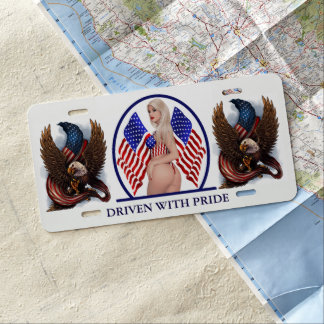 USA PIN UP GIRL LICENSE PLATE