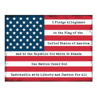 USA Pledge of Allegiance Postcard