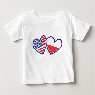 USA Poland Flag Hearts Baby T-Shirt