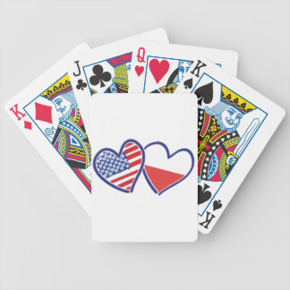 USA Poland Flag Hearts Bicycle Playing Cards