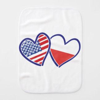 USA Poland Flag Hearts Burp Cloth