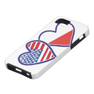 USA Poland Flag Hearts Case For The iPhone 5