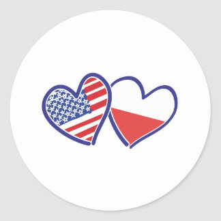 USA Poland Flag Hearts Classic Round Sticker